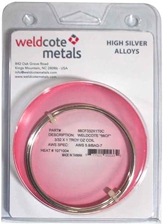 "1//16/"" 3 Troy Oz. Weldcote Metals 56 Cadmium Free silver solder Size"