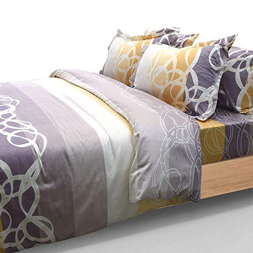 - Essina Full/Queen Duvet Cover Set 3pc Mataro Collection, Cotton Sateen 680 Thread Count, Pillow Sham, Reactive Print, Sunset