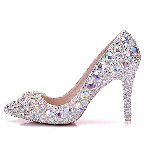 de Zapatos encaje Zapatos boda boda Novia Boda mujer agua Zapatos la de bodaFine Wedding de Rhinestone SL de Apliques de perforación con de Zapatos Silver de TqvYaxE