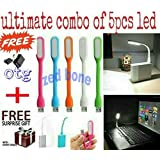 ZED BONE Combo pack of 5 piece of USB LED lights Flexible, Portable, Bendable, for your laptop, computer, or for any usb port and get FREE O.T.G connecter (And also get a free surprised assured gift with every purchase of this product from ZED BONE)-Color May Vary