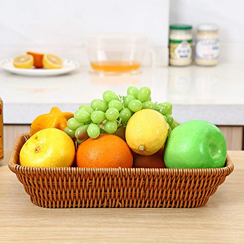 (Wicker Bread Basket, SUJING Rectangular Wicker Storage Basket, Long Woven Tabletop Food Fruit Vegetables Serving Basket Weaved Storage Bin (S))