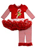 Rare Editions Girls Candy Cane Holiday Dress Outfit Leggings , Red , 12M - 24M
