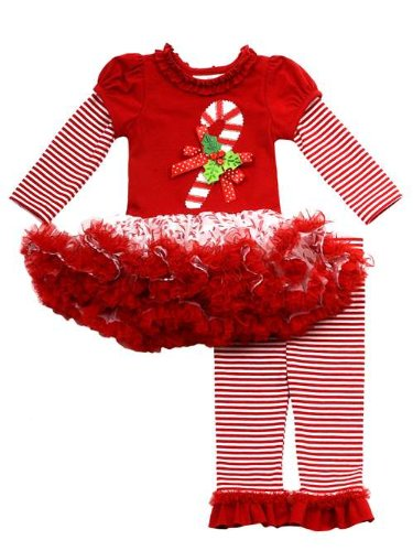 Rare Editions Holiday Dress - Rare Editions Girls Candy Cane Holiday Dress Outfit Leggings , Red , 24M