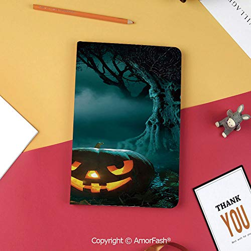 Case for Samsung Galaxy Tab S3 9.7 T820 T825 Slim Folding Stand Cover PU Case,Halloween,Carved Pumpkin in Dark Misty Forest Ancient Trees Gloomy Scenic Horror Theme,Teal Orange]()