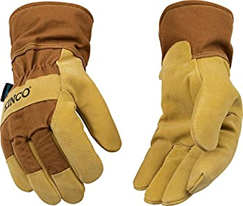Kinco 1958-XXL-1 Suede pigskin, Brown duck fabric back & safety cuff, Lined safety cuff, Heatkeep thermal lining, Aquanot waterproof insert, Size: XXL