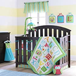 Owlphabet Alphabet 4 Piece Crib Bedding Set Color: Sage