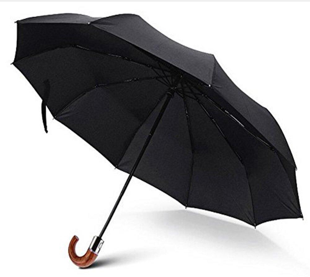 Compact Unisex Classic Auto Open&Close Wind-Resistant Travel Umbrella Folding Anti-UV Outdoor Business Umbrella-Automatic -Curved Wood Handle Umbrella-Black