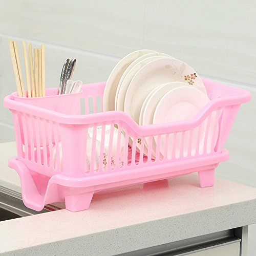 (QFFL shounahe Simple Kitchen Plastic Drained Storage Box/Tableware Drip Multifunction Storage Basket/Practical Large Capacity Storage Rack (4 Colors Available))