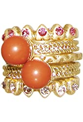Set Of 5 Stackable Rings with Rhinestones and Faux Coral, Size 7, in Antique Gold