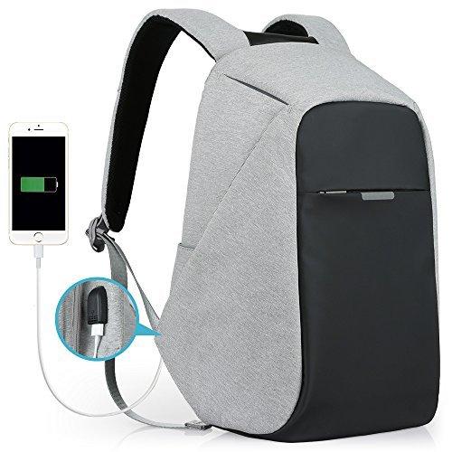 Oscaurt Travel Anti-theft Backpack Business Laptop Backpack College Students Book Bag with USB Charging Port Work Men & Women Grey [並行輸入品]   B077N3RPVC