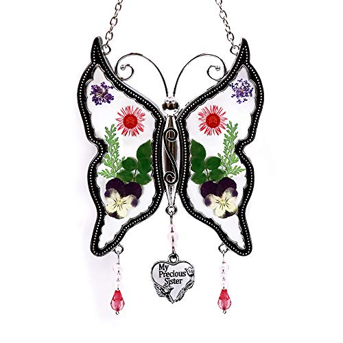 (Loganrock My Precious Sister Butterfly Suncatcher Gifts for Sister Wind Chimes, Pressed Flower between Glass for Stained Window, Metal Engraved Charm, as Sister Birthdays Christmas Gifts from Sister )