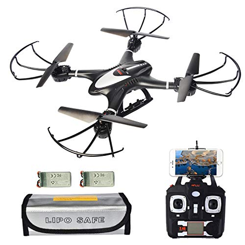 MJX X400W Upgraded Version, FPV RC Quadcopter Drone with WiFi Camera Live Video, Extra Battery and Lipo Safe Bag, Drones with Altitude Hold Headless Mode One Key Return (Black) (Rc For Cameras Airplanes Video)