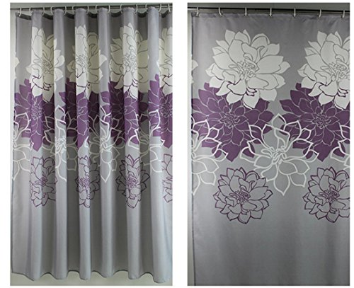 Amazon Eforgift 72 Inch By 78 Floral Printed Shower Curtain Fabric Waterproof Bathroom Curtains No More Mildews With Free Rings Purple Grey
