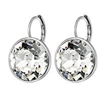 Xuping Sparkle Valentines Day Gifts 2018 Hot Sale Luxury Platinum Color Plated Crystals from Swarovski Hoop Earrings Women Girl Lady Wedding Mothers Day Jewelry