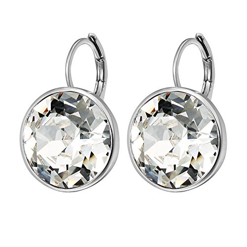 3 Stone Hoop Earrings (Xuping Valentine's Day Sparkle Hoop Earrings Crystals from Swarovski Women Girl Party Jewelry Elegant Mom Gifts M15-M17 (Crystal White))
