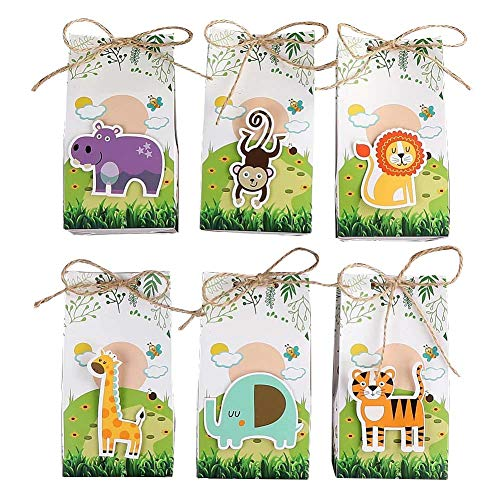 Aparty4u 48Pcs Jungle Theme Party Favor Bags Safari Animal Gift Bags, Zoo Goodie Candy Treat Boxes for Jungle Theme Birthday Baby Shower Supplies