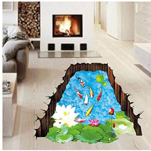 Koolee 3D Starry Sky Wall Sticker 3D Bridge Floor/Wall Decal White Clouds Stick Wall Removable Sticker Vinyl Art Living Room Decors (I)
