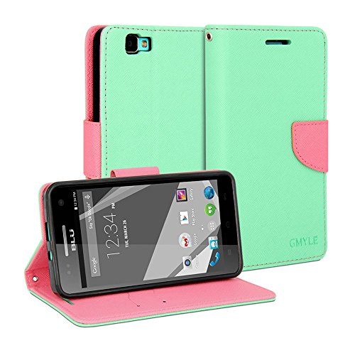BLU Studio 5.0 C HD Case, GMYLE Wallet Case Classic for BLU Studio 5.0 C HD - Mint Green & Pink PU Leather Slim Stand Case Cover (Not Fit for Studio 5C)
