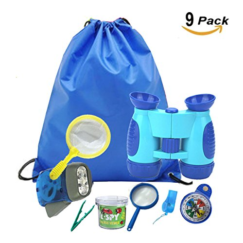 Explorer Compass (CloverTale Kids Explorer Kit, Binoculars, Outdoor Exploration Flashlight, Compass, Whistle, Magnifying Glass, Butterfly Net, Tweezer, Insect Viewer Cup, Backpack for Kids. Educational Toys)