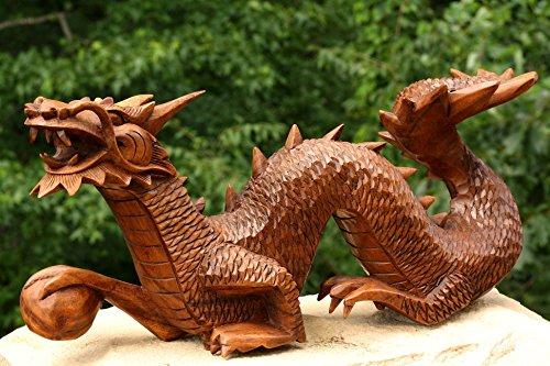 JustPaperRoses Wood Dragon Hand Carved Large DragonL