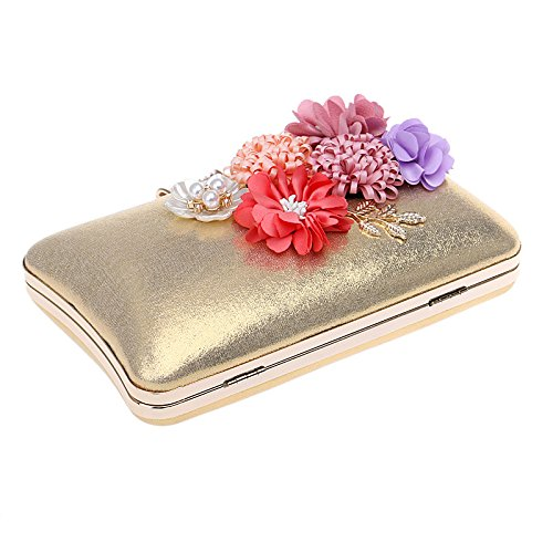 For Bridal Evening Clubs Clutch Party Prom Antique Glitter Purse Bag Shoulder Handbag Envelope Bag Ladies Women Gold Wedding Gift Diamante Flower t7nqBtOT