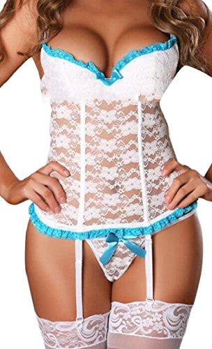 GenericWomen New Sexy Spaghetti Straps Lace Lingerie Set with Garter Belts Strap Babydoll V Neck Bodysuit White ()