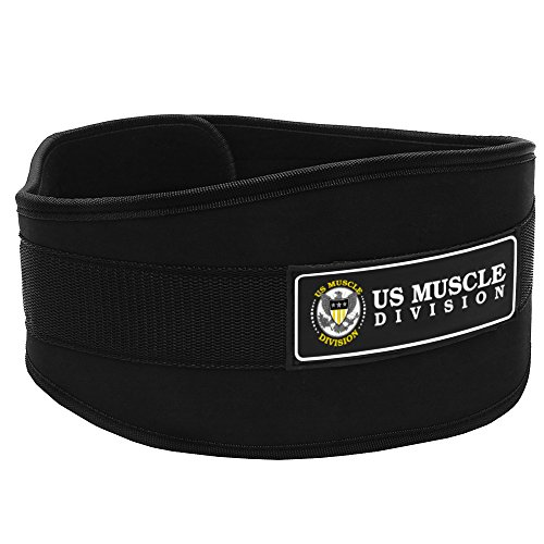 "Weight Lifting Belt US Muscle Division Back Support Belt + Easy Open Velcro Hook And Loop Fastener Double Stitched Weight Belt Featuring Soft Feel 6"" Wide Padded Neoprene"