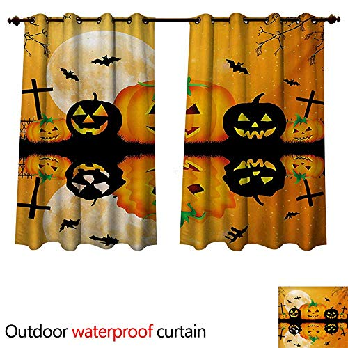 WilliamsDecor Halloween Outdoor Curtains for Patio Sheer Spooky Carved Halloween Jack o Lantern and Full Moon with Bats and Grave Lake W55 x L72(140cm x -