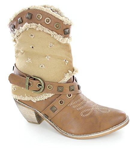 Helens Heart Ladies Western Boot Marrone