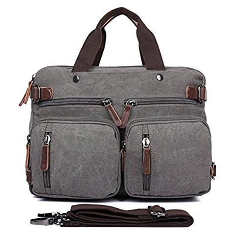 15.6-17.3 Men's Messenger Bag Canvas Laptop Bag, Gudui Hybrid Multifunction Briefcase Handbag with Computer Bag Shoulder Bag BookBag Military Satchel (15.6, Gray)