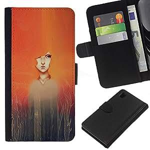 KLONGSHOP // Tirón de la caja Cartera de cuero con ranuras para tarjetas - Pintura de la acuarela de la muchacha Redhead - Sony Xperia Z1 L39 //