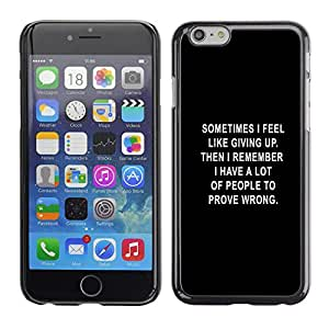 Qstar Arte & diseño plástico duro Fundas Cover Cubre Hard Case Cover para Apple (5.5 inches !!!) iPhone 6 Plus ( Black Text Giving Up Depression Motivating)