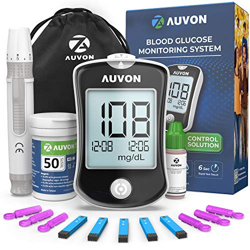 AUVON DS-W Glucose Monitor, Blood Sugar Test Kit, Diabetes Testing Kit, High-Accuracy Glucometer with Control Solution…
