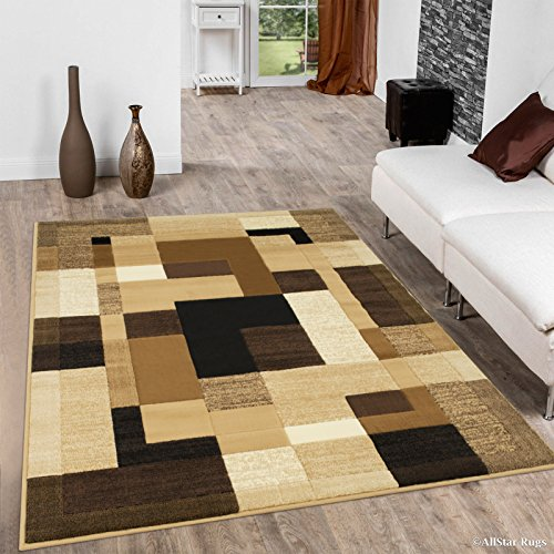 Allstar 8x10 Berber Modern and Contemporary Machine Carved Effect Rectangular Accent Rug with Ivory, Mocha and Espresso Geometric Color Block Design (7' 9