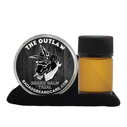 (Badass Beard Care Beard Oil and Beard Balm Trial Pack For Men - The Outlaw Scent - All Natural Ingredients, Keeps Beard and Mustache Full, Soft and Healthy, Reduce Itchy, Promote Healthy Growth)