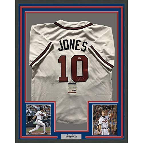 Framed Chipper - Framed Autographed/Signed Chipper Jones 33x42 Atlanta Braves White Baseball Jersey PSA/DNA COA