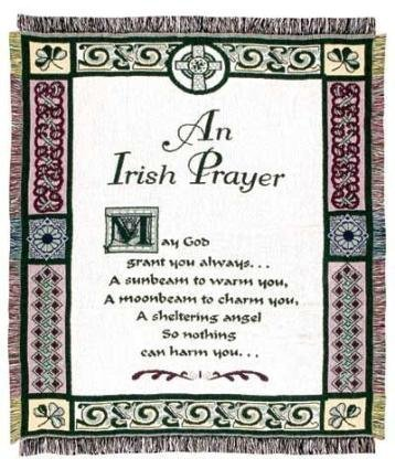 "Simply Home An Irish Prayer Religious Afghan Throw Blanket 48"" x 60"""