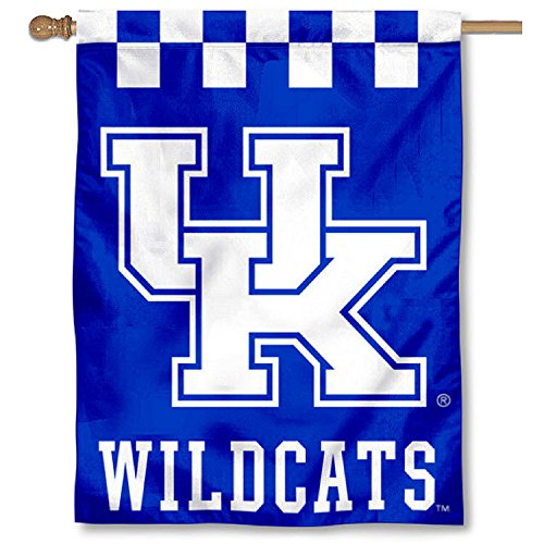 College Flags and Banners Co. Kentucky UK Wildcats Checkerboard Double Sided House Flag ()