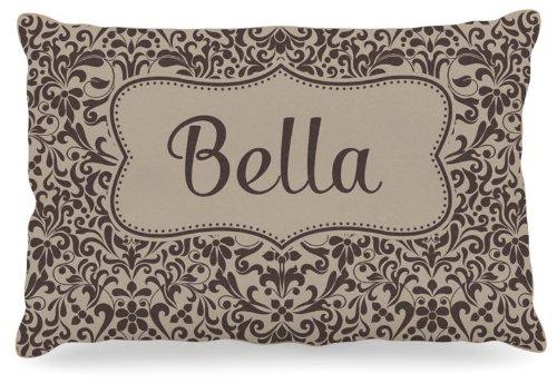 Kess InHouse KESS Original ''Bella'' Damask Name Fleece Dog Bed, 30 by 40-Inch, Brown/Tan by Kess InHouse