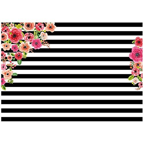 TOOGOO(R) 7x5ft photography backdrops Black and white stripe watercolor pink flower banner Birthday party wedding bridal shower decoration photo studio booth background photocall Style5