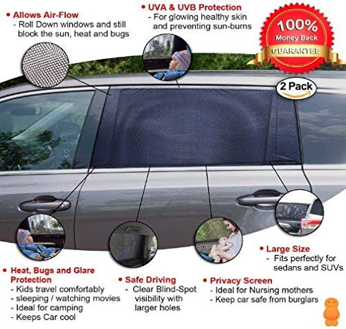 Kinder und Haustiere f/ür Babys ROLLIN Auto-Sonnenschirm Doppelgewebe f/ür maximalen Schutz vor UV-Strahlen Seitenfenster hinten 2 St/ück einfache Installation