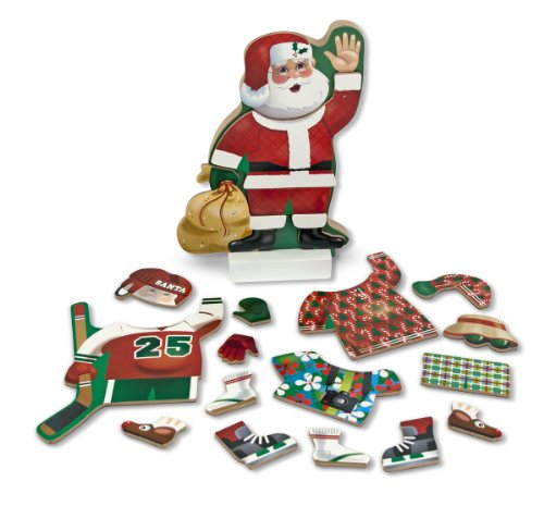 Up Dress Dolls Christmas (Melissa & Doug Santa Wooden Dress-Up Doll and Stand With Magnetic Accessories (22 pcs))