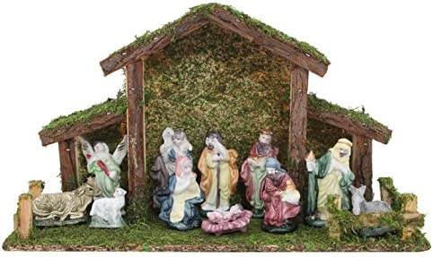 Toyland Presepe Tradizionale di Natale – Stalla con 12 Figure di Natività – Decorazioni Natalizie