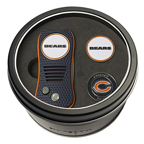Golf Chicago Ball Bears (Team Golf NFL Chicago Bears Gift Set Switchfix Divot Tool with 3 Double-Sided Magnetic Ball Markers, Patented Single Prong Design, Causes Less Damage to Greens, Switchblade Mechanism)