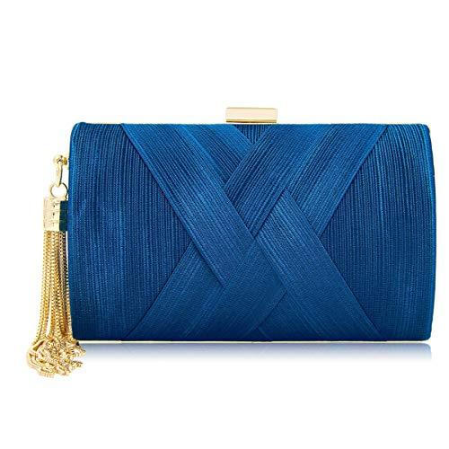 imeetu Women Hand Made Envelope Clutch Bag Evening purse Handbag Line Design Elegant Rose Gold for Wedding and ()