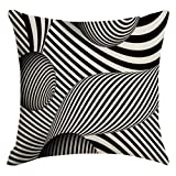 LEEDY, Cushion Cover Modern Style Visual Trap Visual Disorder Line Hug Pillowcase Home Decoration, Suitable For Living Room Sofa Bedroom Car Seat Cushion,45 x 45 cm.