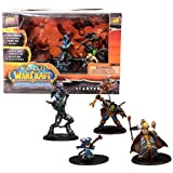 Blizzard Year 2008 World of Warcraft Miniatures Game Series Mini Figure Starter Set with Vindicator Hodoon (Draenai Paladin), Gorebelly (Orc Warrior), Ruby Gemsparkle (Gnome Mage) and Lotherin (Blood Elf Priest) Plus 4 Cards, 8 Action Bar, 6 Ten-Sided Dice, Map and Checklist