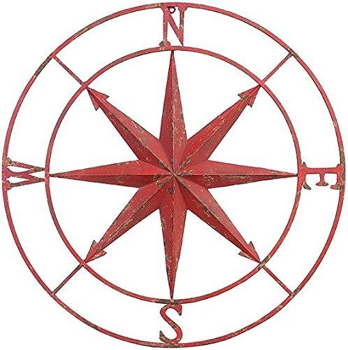 Compass Rose Metal Wall Plaque, 41''DIAMETERx2''D, DISTRESSED RED