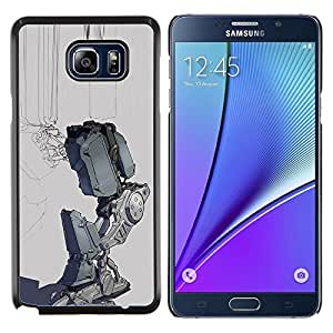 Robot triste Depresión gris Futurista- Metal de aluminio y de plástico duro Caja del teléfono - Negro - Samsung Galaxy Note5 / N920
