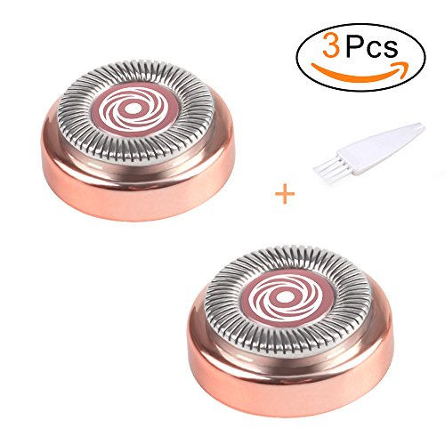 Buling Hair Remover Replacement Heads for Finishing Touches Flawless, Free Cleaning Brush, On The Upper Lip, Chin, Cheeks And Sideburns (Rose Gold)